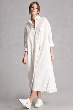 We both want to know how to jump on this shirtdress trend everyone seems to be raving about. So, I decided to showcase these styles in white cos you can pretty much DIY them in other colors and prints from these. color Max Mara Pre-Fall 2019 Fashion Show Look Fashion, Hijab Fashion, Fashion Show, Fashion Outfits, Dress Fashion, White Fashion, Fall Fashion, Max Mara, White Sneakers Outfit