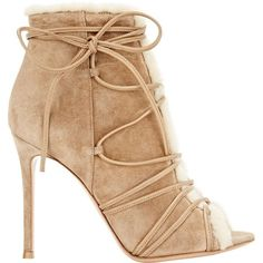 Gianvito Rossi Women's Shearling-Lined Aspen Booties ($489) ❤ liked on Polyvore featuring shoes, boots, ankle booties, nude, shearling lined booties, lace up boots, lace up high heel booties, open toe booties and open toe lace up booties