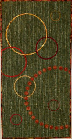 modern quilt - circles on green background