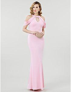 d8e25d67663f Ίσια Γραμμή Με Κόσμημα Μακρύ Ζέρσεϊ Ανοικτή Πλάτη Επίσημο Βραδινό Φόρεμα με  Πλισέ με TS Couture