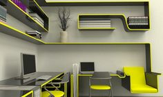 Neon yellow certainly adds a pop of color to this #futuristic #office space! Brought to you by Shoplet, everything for your business.