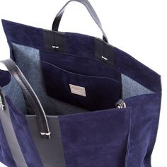 Simple Tote (£35) ❤ liked on Polyvore featuring bags, handbags, tote bags, suede handbags, tote handbags, tote purses, blue handbags and navy tote