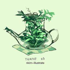 Cute Kawaii Drawings, Cute Animal Drawings, Kawaii Art, Art Drawings, Nature Drawing, Plant Drawing, Kawaii Illustration, Plant Illustration, Jar Art