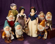 Rendezvous Auction, June Fine Artist Dolls by R. Christopher Robin, Snow White Seven Dwarfs, Disney Princess Dolls, John Wright, Doll Display, Felt Dolls, Vintage Dolls, Beautiful Dolls, Great Artists