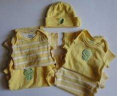 2⃣▪5⃣0⃣ @SalesForToday. also check out www.stores.ebay.com/jenscreationstx..   Lot Baby Girl Onesies and Matching Beanie Yellow Frog Theme - Size 0-3 Months