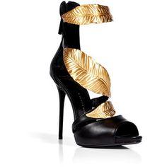 GIUSEPPE ZANOTTI Leather Sandals with Leaf Embellishment