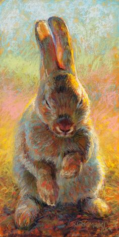 """Hazel"" (pastel, 12x6) c lick here to bid or buy Day 3 of my 30-paintings-in-30-days of November. Yes, this adorable bunny is another ..."