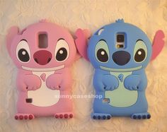 3D Cute Pink Disney Stitch Soft Silicone Case cover for Samsung Galaxy S5 Vi9600