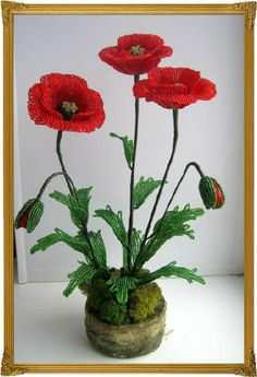 French beaded poppies