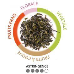 Goomtee first flush Ex12/16 - « Un thé vif frais et aromatique. Les amateurs de thé vert seront séduit aussi par ce thé. Il révèle des notes très végétales, amandées et fruits frais : le profil attendu d'un Darjeeling première récolte. L'équilibre entres ses arômes et sa texture est parfait. » Carine Baudry, expert-dégustateur La QuintEssence