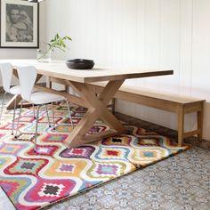 Tapis de prestige multicolore Love par Ligne Pure composé de viscose et de laine, robuste tapis motifs vagues, tapis haute gamme  #tapis #graphique #déco #multicolore