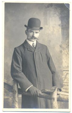 Vintage Real Photo Postcard of a Victorian Man in a Bowler Hat - dated 1904. £3.00, via Etsy.  [Torvald]