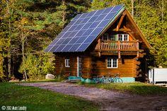 log-cabin w/ solar panels