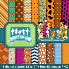 Digital Papers 12 x 12 + free 28 clipart