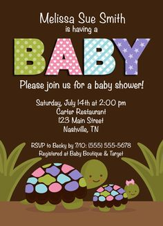 turtle baby shower invitations for girls
