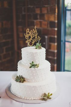 dotted wedding cake with succulents - photo by Kelly Maughan Photography http://ruffledblog.com/whimsical-columbus-wedding-with-a-colorful-palette #weddingcake #cakes