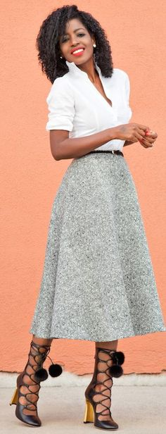 Swing Midi Skirt Fitted White Shirt Holiday Style Inspo by Style Pantry