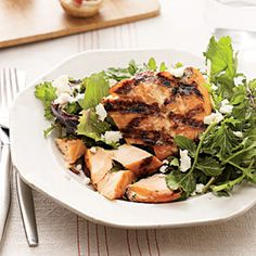 Grilled Salmon With Greens | MyRecipes.com #myplate #protein #vegetable