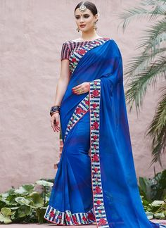 Blue Striped Embroidered Georgette Saree