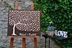 3D Wedding guestbook alternative tree wood Custom unique guest