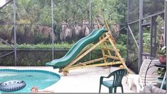 pool ladder with slide Underground Swimming Pool, Swimming Pool Slides, Pool Water Slide, Swimming Pool Designs, Pool Decks, Above Ground Pool Slide, In Ground Pools, Do It Yourself Pool, Playground Slide