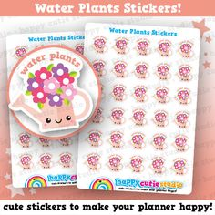 30 Cute Water Plants/Flowers/Garden Planner Stickers, Filofax, Erin Condren, Happy Planner, Kawaii, Cute Sticker, UK – £2.00