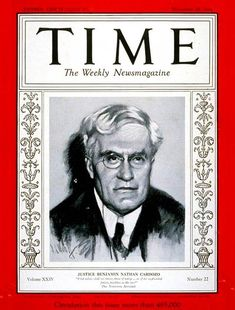 TIME Magazine Cover: Benjamin N. Cardozo - Nov. 26, 1934 - New York - Law