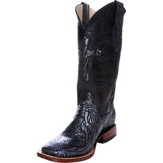 "Ferrini Embossed Cross-12"" Antique Black Top Cowgirl Boots"
