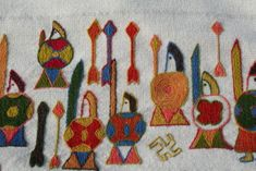 Viking embroidery - based on Oseberg tapestry. Viking embroidery - based on Oseberg tapestry. Viking Embroidery, Embroidery Applique, Cross Stitch Embroidery, Embroidery Designs, Lofoten, Viking Reenactment, Medieval Tapestry, Viking Culture, Norse Vikings
