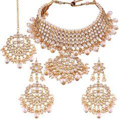 4e4590c17 Buy I Jewels Traditional Kundan  amp  Pearl Choker Necklace Set for Women  (K7058W)