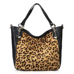 Nucelle Leopard Horse Fur Leather Tote - Black [1170328-01] - $77.00