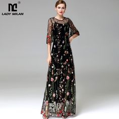 811085ce95 New Arrival 2018 Spring Summer Women s O Neck Long Sleeves Embroidery High  Street Runway Maxi Fashion