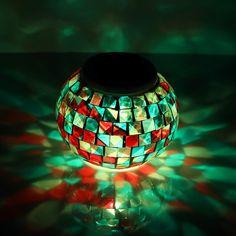 Solar Powered Mosaic Glass Ball Light LED Garden Indoor/Outdoor Night Table Lamp