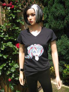 V Neck T-shirt in Black, Sophisticated Alice design by Alice Brands.