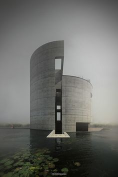 round building spirals up out of moat... Tadao Ando