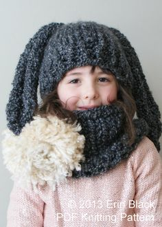 Knitting PATTERN - Chunky Bunny Hat and Cowl in Toddler, Child and Adult Sizes (hat002)