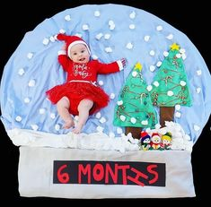 DIY – Winter snow globe baby photoshoot idea at home! Milestone Pictures, Baby Pictures, Santa Baby, Baby Winter, Winter Snow, Winter Christmas, Baby Christmas Photos, Monthly Baby Photos, Foto Baby