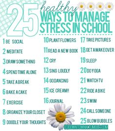25 simple and healthy ways to manage stress in school for teens. Sometimes it is good for teens to see that there are fun ways to get through stress. How To Reduce Anger, Ways To Manage Stress, How To Relieve Stress, Coping With Stress, Dealing With Stress, Stress And Anxiety, College Stress, College Life, School Stress Quotes