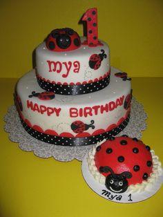 Ladybug Cakes For 1st Birthdays | Mya's Ladybug 1st Birthday Cake & Smash Cake - The House of Cakes