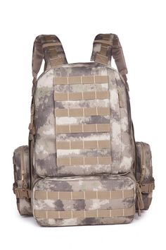 """Uniseason BBQ08007 Military Molle Assault 3-days Backpack (Dark Brown Atacs). Dimensions: 22"""" H x 17"""" W x 11"""" D; Capacity: 50 - 60 L;. Material: 600 D PVC Polyester.Two straps to lock-in equipment. Double-pull zipper closure.Carry-and-drag handle. Compression straps on each side can easily compact the bag. D-ring for attachment purpose. Ultra-comfy foam-pad back panel<br>Ergonomic shoulder straps contour to your body and feature,Hydration pack compartment,Fits 2L or 3L pack.Grommets on…"""