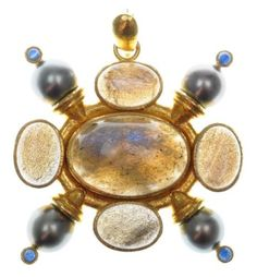 $5400  Elizabeth-Locke-Cabochon-Labradorite-Black-South-Sea-Pearl-Pendant-19K-Gold
