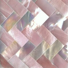 "Pink Hammershell & White Mother of Pearl Zig Zag Shell Tile 2"" x 2"", 1 Tile"
