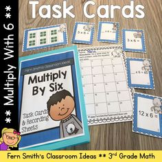 You will love how easy it is to prepare these 3rd Grade Go Math 4.3 Multiply With 6 Task Cards for your class. My students LOVED Task Cards and your students will too! Students can answer these Multiply With 6 Task Cards in your classroom math journals or on the included recording sheets. These 3rd Grade Go Math 4.3 Multiply With 6 Task Cards are perfect for assessment grades for 3rd Grade Go Math Chapter 4! Multiplication Activities, Math Rotations, Math Centers, Fun Activities, After School Tutoring, Math Night, Go Math, Math Journals, Recording Sheets