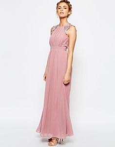 Image 1 ofLittle Mistress Lace and Pleat Maxi Dress