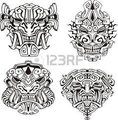 Illustration of Aztec monster totem masks. vector art, clipart and stock vectors. Neue Tattoos, Body Art Tattoos, Sleeve Tattoos, Arm Tattoos, Mayan Tattoos, Filipino Tattoos, Tribal Tattoos, Polynesian Tattoos, Turtle Tattoos