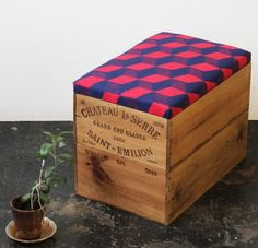 Upcycled double height wine box Ottoman storage box/ table w/ hand screen printed navy and red cube geometric linen fabric Messy Nessy Chic, Sustainable Furniture, Ideias Diy, Diy Recycle, Decorative Boxes, Just For You, Place, Design, Home Decor