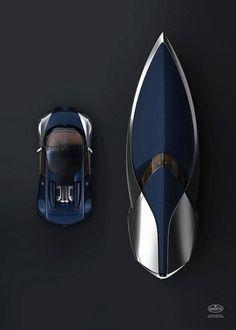 bugatti car + speedboat.  Omg!!!! This is like a dream!!!!