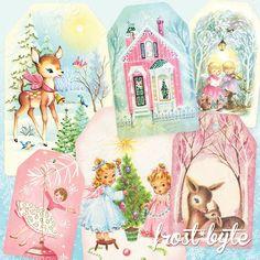 Vintage Pastel Christmas Gift Tags Digital file to print Christmas Card Images, Cute Christmas Gifts, Christmas Holiday, Christmas Crafts, Christmas Decorations, Vintage Pink Christmas, Pretty Mermaids, Mermaid Under The Sea, Vintage Mermaid