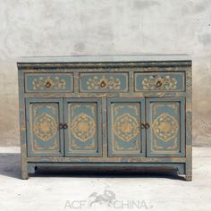 """""""Touch of exotic"""" painted buffet - ACF China Painted Sideboard, Painted Buffet, Sideboard Furniture, Sideboard Buffet, Hand Painted Furniture, Funky Furniture, Antique Chinese Furniture, Buffet Server, Eclectic Style"""