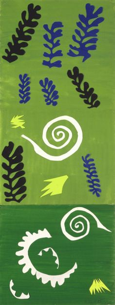 Henri Matisse, French, 1869 - 1954 Composition Green Background (Composition fond vert), 1947 Gouache, cut papers, and pencil on paper